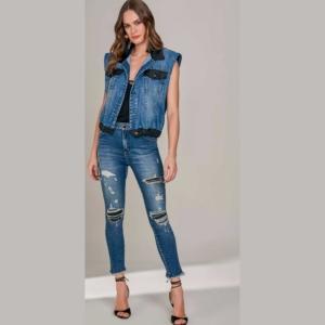 Calça Jeans Feminina Pin Up Cropped Lado Avesso Ref. 115103